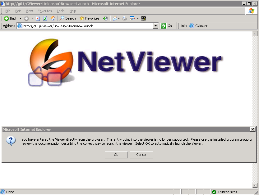 Intergraph Netviewer client url from Internet Explorer