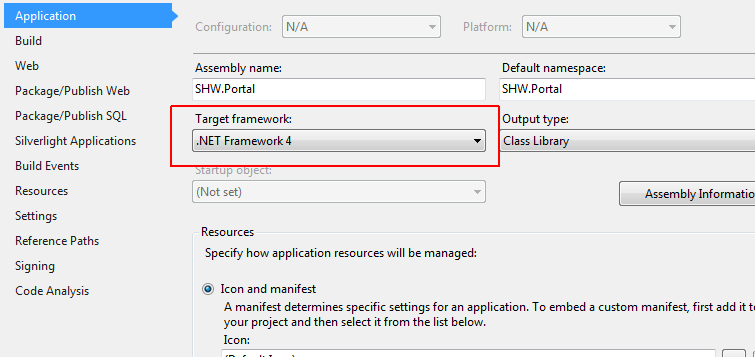 Target framework Visual Studio 2012 project