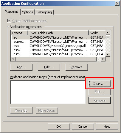 Insert wildcard IIS map Virtual Directory